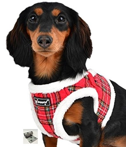 "Santa's Reindeer Step in Jacket Vest Harness travel set with Smart Tag- Plaid or Red – Dog Sizes S thru XL (Red Plaid, Medium fits Neck 9"" Chest (Puppia Santa)"