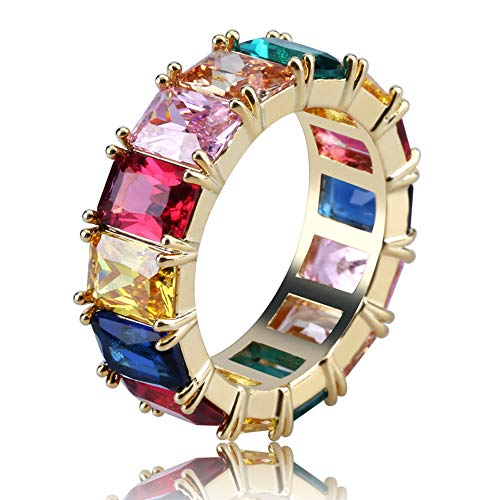 JINAO Iced Out Rainbow CZ Mens Bling Ring (Gold, 11)