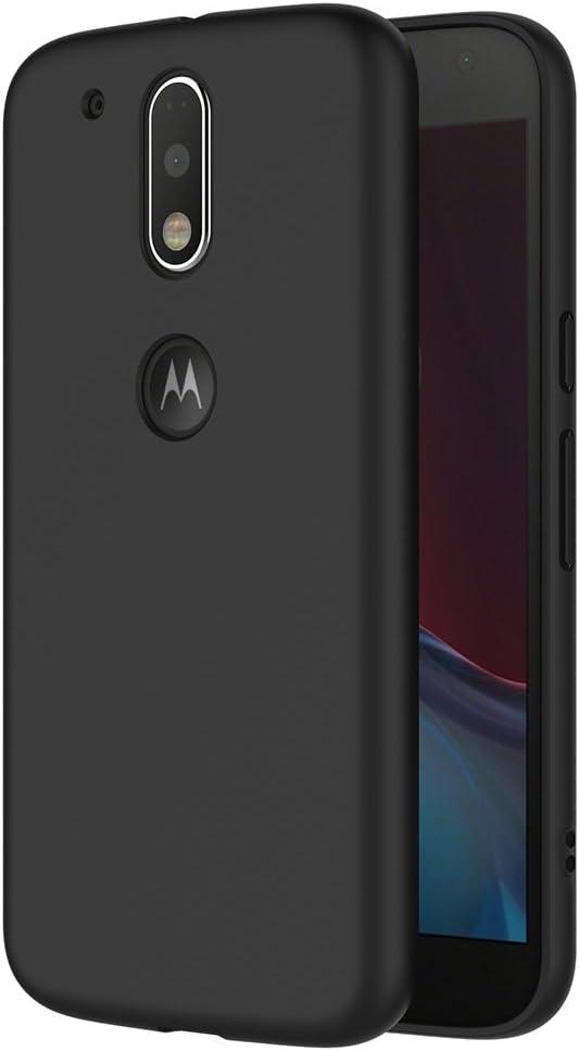AICEK Funda Motorola Moto G4 / G4 Plus, Negro Silicona Fundas para ...