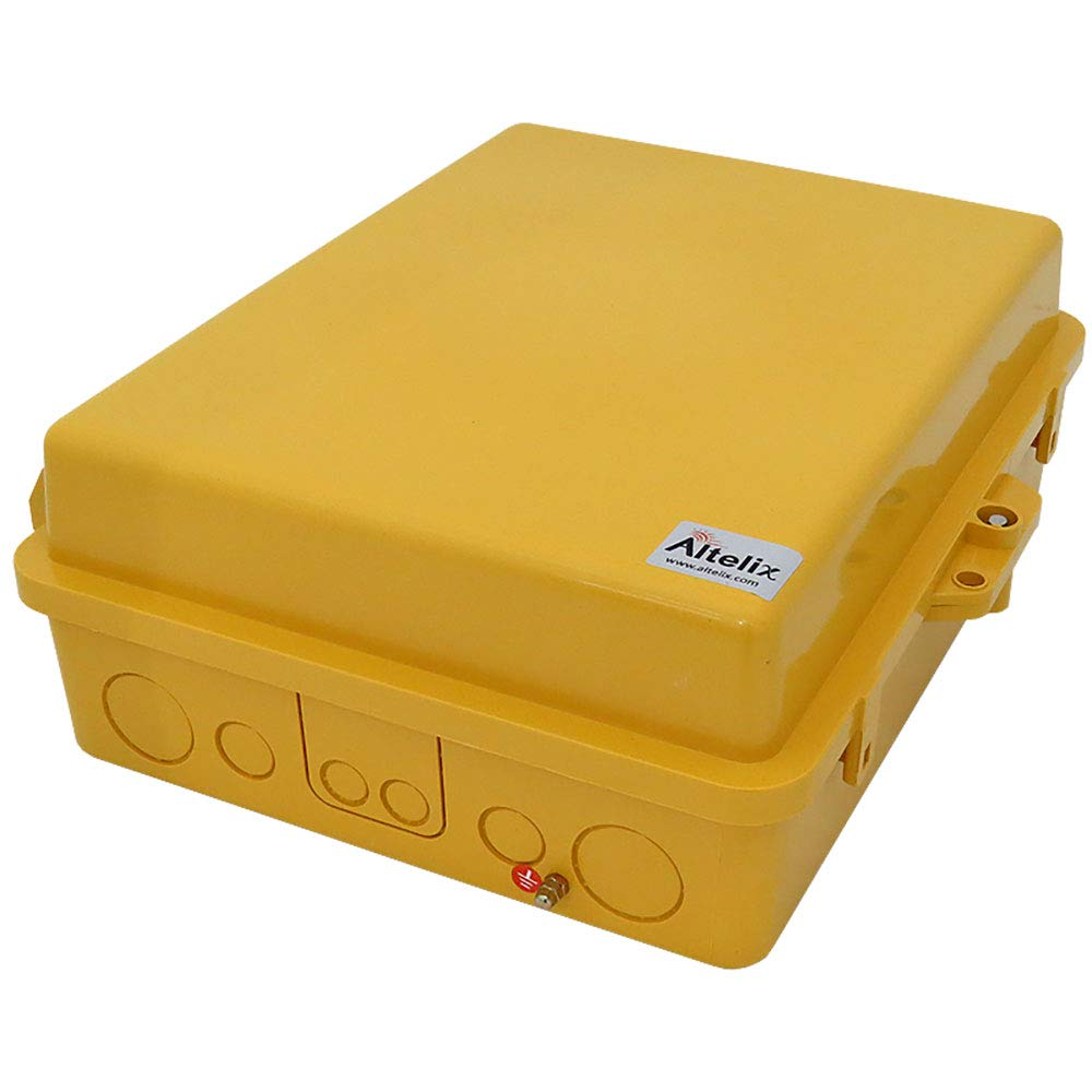 Altelix Yellow NEMA Enclosure 12'' x 8'' x 4'' Inside Space Polycarbonate + ABS Weatherproof Tamper Resistant High Visibility NEMA Box