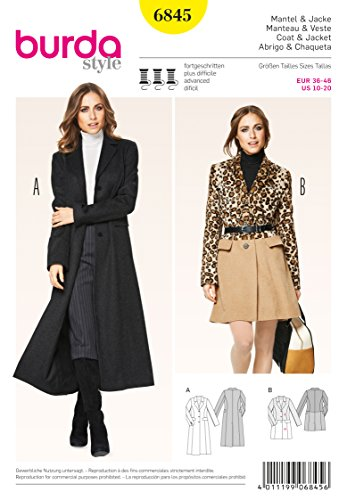 Burda Style Sewing Pattern 6845 - Misses Coat & Jacket, Semi-fitted Size (10-12-14-16-18-20)