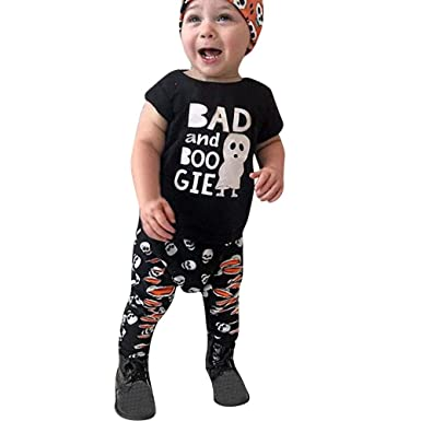 4ea6612a6fd6 Amazon.com: OCEAN-STORE 2Pcs Halloween Toddler Baby Boys Girls 3-24 Months  Cartoon Letter Print Top T-Shirt+Pant Set Outfit Black: Clothing