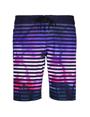 SURF CUZ Men's Board Short Stripe Sunset Beach Short 4-Way Stretch Swim - Water Coconut Purple