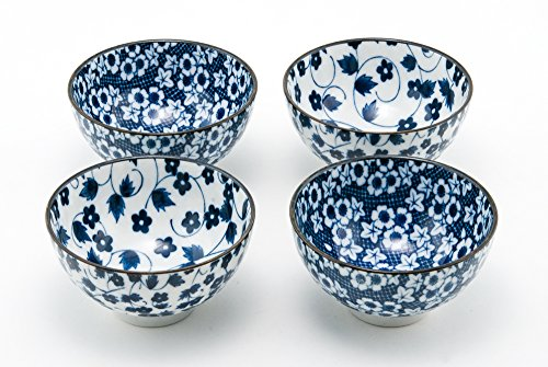 Hinomaru Collection Authentic Japanese Porcelain Rice Bowl Set of 4 Nippon Blue Momiji Kiku Gift Set Made in Japan (4.75D x 2.5H)