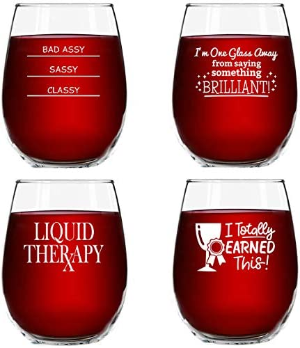 Funny Stemless Wine Glasses Set of 4 15 oz - Funny Novelty Wine Glassware Gift for Women- Party, Event, Hosting Fun- Wine Lover Wine Glass with Funny Sayings