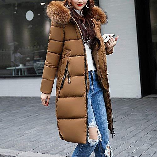 Tomwell Hiver Manteau avec Capuche Fourrure Doudoune Femme Zipp Longue Duvet de Coton Grande Taille Doudoune Caf