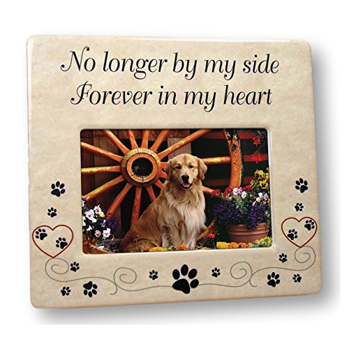 Pet Memorial Ceramic Picture Frame - No Longer By My Side Forever in My Heart - Loss of a Pet Gift - Pet Photo Frame - Pet Sympathy Gift - In Memory of a Pet (Pet Memories Photo)