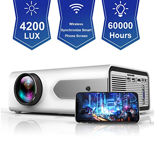 """HOLLYWTOP Upgraded Mini Portable Projector 4200 Lux WiFi Wireless Synchronize Smart Phone Screen,1080P Supported 180"""" Display, Multimedia Connections, Compatible with Laptop/PS4/Fire TV Stick/Computer"""