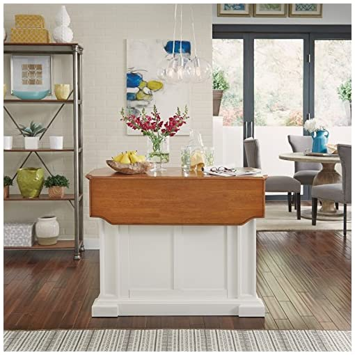 Farmhouse Kitchen Homestyles Americana Kitchen Island with Wood Top and Drop Leaf Breakfast Bar, Storage with Drawers and Adjustable… farmhouse kitchen islands and carts