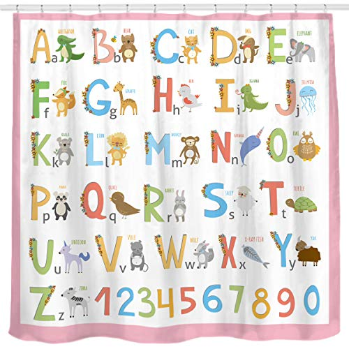(Sunlit Alphabet Fabric Shower Curtain for Kids ABC Educational Learning Tool for Girls and Babies Large A to Z Poster Tapestry Waterproof Polyester Bathroom Curtains- Pink)
