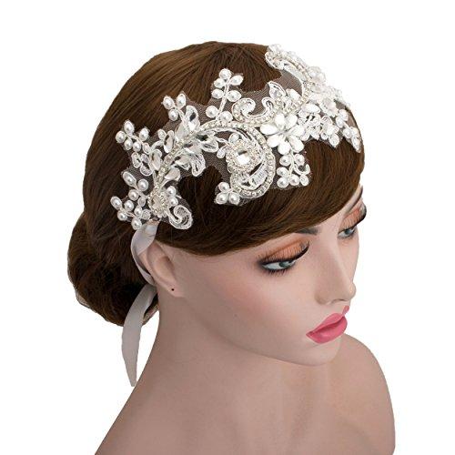 Bearer Wedding Pillow Accessories Ring - Wedding Bridal Big Flower Lace Rhinestone Headband Wedding Faux Pearls Headpiece Bridal Hair Accessories (Ivory Ribbon)