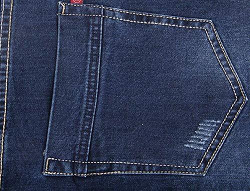 Vintage Battercake Ocasionales Mezclilla Cintura Moda Pantalón De Hombres Pantalones Blau Alta Jeans Recta Los Cómodo qpBqO7r
