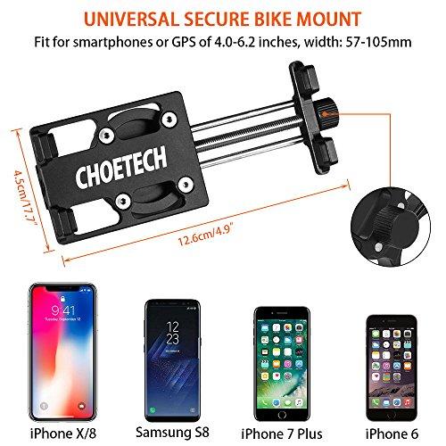 Bike Phone Mount, CHOETECH Aluminum Universal Bicycle Phone Holder Handlebar Mount Compatible iPhone X/8/8 Plus/7/7 Plus/6s/6 Plus,Samsung Galaxy S9/S8/S7/S7Edge/S6,GPS, Google Nexus, LG by CHOETECH (Image #2)
