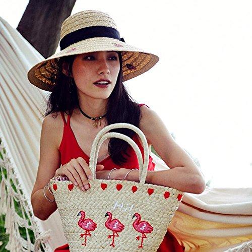 Tracolla Estate Borsa Della Donna Nuova Disegno Mano Spiaggia Di Rattan Epoca A Fenicotteri 5fw8Iqfnp