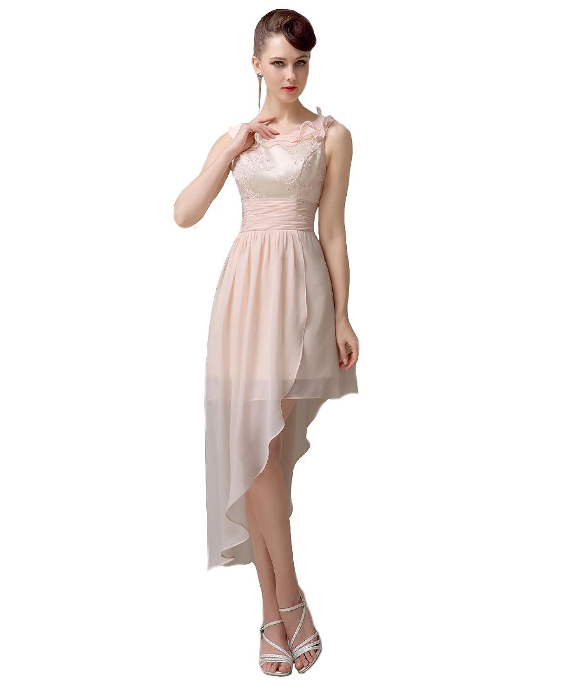 YesDress Junior Popular Pretty Hi-lo Lace Up Champagne Bridesmaid Dresses