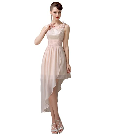 YesDress Junior Popular Pretty Hi-lo Lace Up Champagne Bridesmaid Dresses (UK4, Champagne