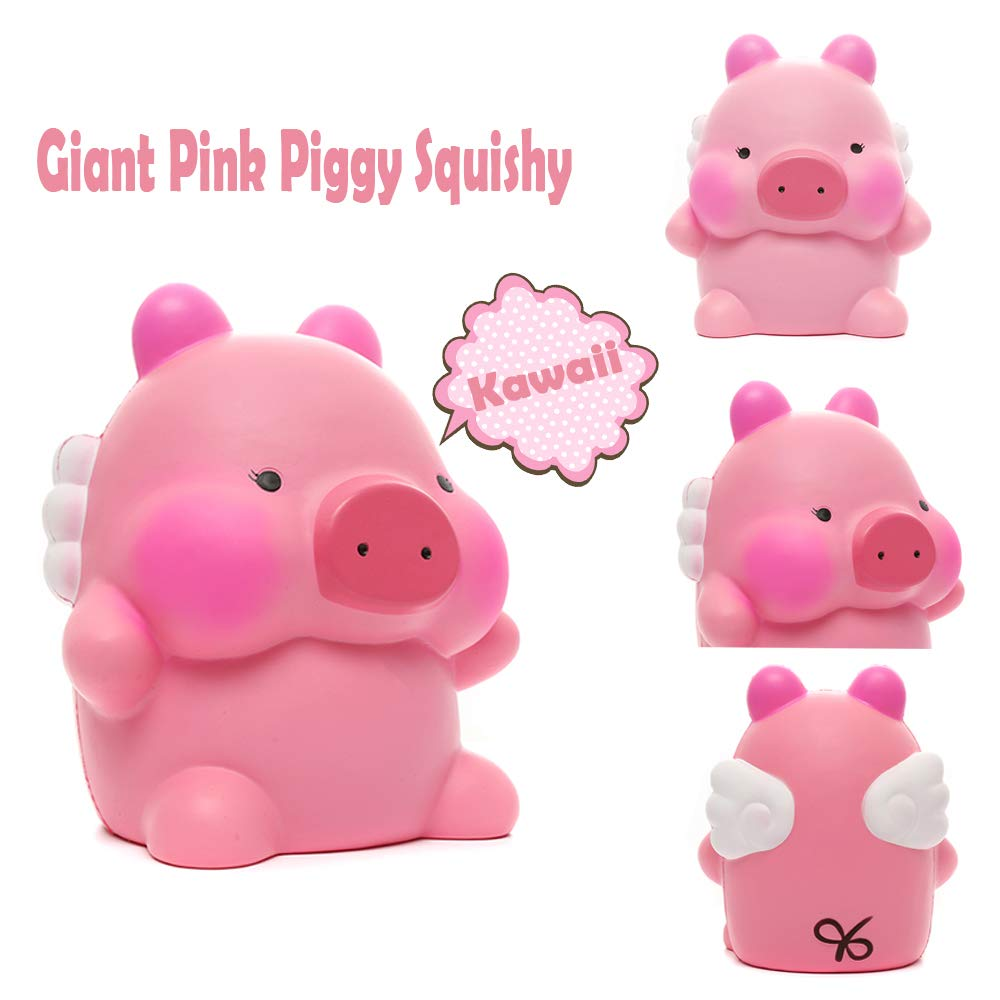 Sinofun 9 Inch Cute Pink Piggy Squishy, with White Wing, Giant Animal Squishies Package, Slow Rising Stress Reliever Squeeze Toys, Birthday Gifts for Girls/Kids by Sinofun (Image #4)
