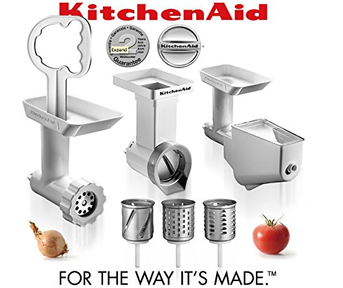 Kitchenaid FPPC Attachment Pack NEW . Grinder + Strainer + NEW Slicer/Shredder (Meat Slicer For Kitchenaid Mixer compare prices)