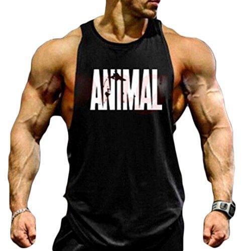 Men Animal Muscle Fitness Gym Stringer Tank Tops Bodybuilding Workout Sleeveless Shirts (L, E)