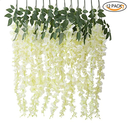 Elegant Silk Flowers (3.6 Feet Artificial Flowers, Lmeison Fake Silk Wisteria Vine Ratta Hanging Garland Silk Flower Wedding, Home Party Décor 12 Pack (White))
