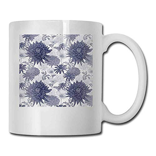 Coffee Cup Dahlia Flower Dotted Digital Paint of Dahlia Botanical Curved Rolled Wild Ray Blunts Design for Office and Home 11 oz Blue - Coffee Flower Curved Blue