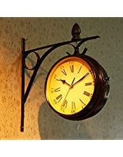 Outdoor Garden Wall Clock, 13 Inch Classical Paddington Station Wall Clock Double Sided Garden Clock with Outside Bracket Waterproof Outdoor Clock Indoor Outdoor Decoration Outside Clock