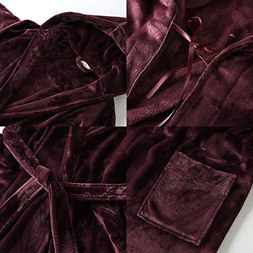Manga Pajamas Servicio Moda Las Lujo Ropa Dormir Larga Capucha Vino A Toalla Casual Bolsillo Con Rojo De Suave Robe Mujeres Domicilio Albornoz Y Cinturón Baño wqUwIOzpr