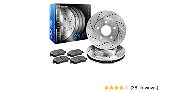 R1Concepts CEDS11283 Eline Series Cross-Drilled Slotted Rotors And Ceramic Pads