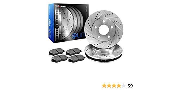 R1Concepts KEDS11846 Eline Series Cross-Drilled Slotted Rotors And Ceramic Pads