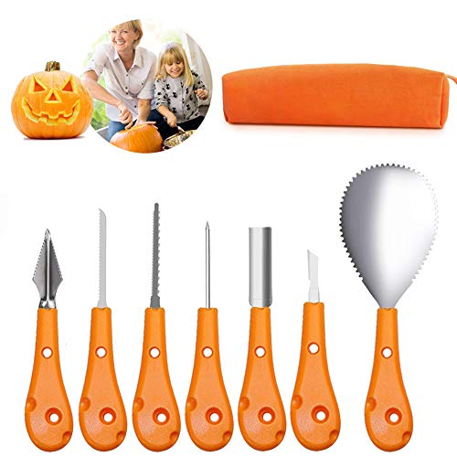 Halloween Pumpkin Carving Kit, 7 Pieces Professional Stainless Steel Pumpkin Cutting Supplies Tools Set for Kids And Adults, Premium Halloween Sculpting Kit with Carrying Bag