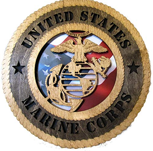 (Orange Kat USMC - Marine Corps Wall Plaque,Wood,12