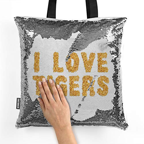 NEONBLOND Mermaid Tote Handbag I Love Tigers Corn Flakes Cereal Reversible Sequin