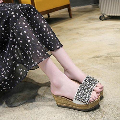 Plate Sandales Dames Fond De Sport Muium Blanc Bout Sandales De Les Plateforme Femmes À D'été Chaussures Épais Cristal Ouvert Des Mode XBEqx7w
