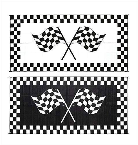 Reversible Patio Mat Racing - You&Meshop Rug Mat Outdoor Patio Deck RV Reversible 8 x 20 ft Foldable Black White Racing
