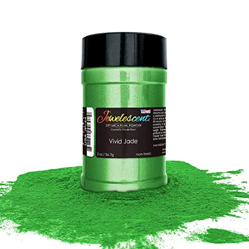 U.S. Art Supply Jewelescent Vivid Jade Mica Pearl Powder Pigment, 2 oz (57g) Shaker Bottle - Cosmetic Grade, Non-Toxic Metallic Color Dye - Paint, Epoxy, Resin, Soap, Slime Making, Makeup, Art
