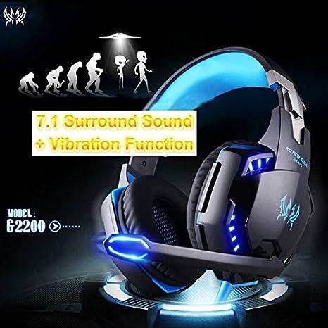 Nero+Blu KOTION EACH G2200 Gaming Headphone USB 7.1 Surround Stereo Headset Vibration System Rotatable Microphone Earphone Mic LED USB
