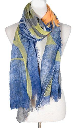 Sunflower block colour large size scarf, Beach Scarf, Beach Shawl, (Blue)