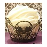 Cupcake Wraps- Easy Halloween Party Cupcake Decorations- Skull -Add Flair to your Halloween, Office, Adult Party Celebration. Use as Decorative Nut Cup with Empty Cupcake Liners- Add a Fun Picks and Toppers for Flair or Give as a Party Favor in a Cupcake