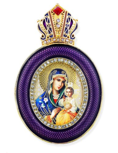 Religious Gifts Madonna and Child Virgin of Eternal Bloom Wall Icon Pendant 3 Inch -