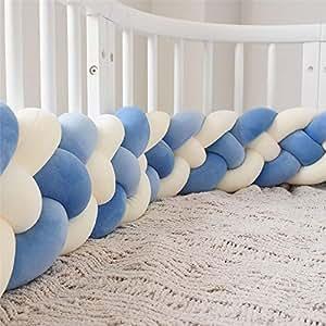 Wanguo Cuna cojín Trenzado Almohada bebé Cabeza Protector Nudo Parachoques Trenza Almohada cojín para Cama de bebé (Color : D-Blue+d-Blue+Two m-White, ...