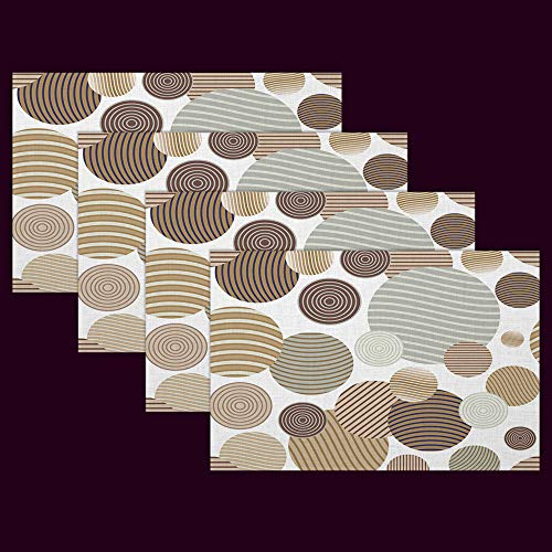 (HGOD DESIGNS Circle Spiral Placemat,Modern Stylish Circle Repeating Spiral Texture Placemat Kitchen Tablemats Perfect for Dinner Table Waterproof Oilproof Set of 4 Placemat 12