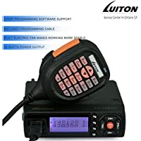 LUITON LT-725UV Dual Band Mobile Radio 25 watt High-Middle-Low Power Output with Free Programming Cable and Fan Backside VHF UHF FM Transceiver (Black)