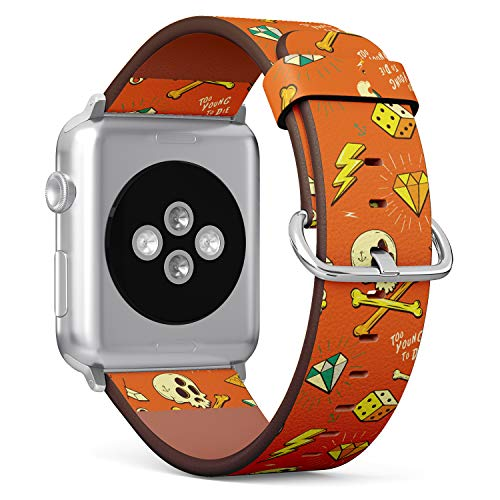 ((Hipster Tattoo Skull, Diamond, dice Pattern) Patterned Leather Wristband Strap for Apple Watch Series 4/3/2/1 gen,Replacement for iWatch 42mm / 44mm Bands)