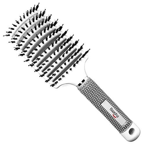 Baasha Large Boar Bristle Hair Brush for Blow Drying, Paddle Vent Brush Boar Bristle Brush White Curved for Hair, Vent Brushes For Curly Hair, Detangling Hair Brush for Women, HairBrush for Men White