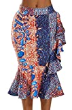 Keaac Women's Africa Tribe Print Ruffle Bodycon Knee Length Club Skirts 1 XL