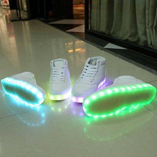 [Presente:pequeña toalla]JUNGLEST (TM) Unisex 7 Colors USB Carga LED Luz Luminosas Flash Zapatos Zapatillas de Depo c7