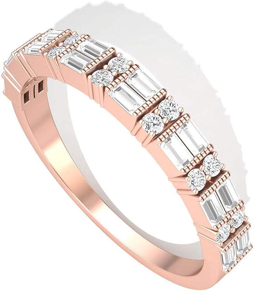 Milgrain Baguette IGI - Alianza de aniversario de boda, dos filas grabadas IJ-SI de diamantes, anillos de novia, anillos de promesa de cumpleaños para madre