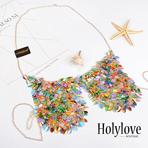 Holylove Paillette Sequin Bra Tops Body Chain Necklace Jewelry Colorful Sexy Charm for Women Lady Summer Beach Hawaiian Style Bikini Beachwear - HLBN5 Colorful by Holylove (Image #1)