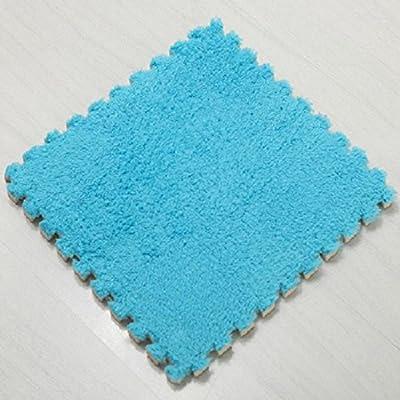 "Ladaidra Floor Mats, EVA Soft Foam Suede Surface Comfortable Washable Cushion for Kids Babies Children, 11.81"" x 11.81"" x 0.39"", Blue Pack of 5"