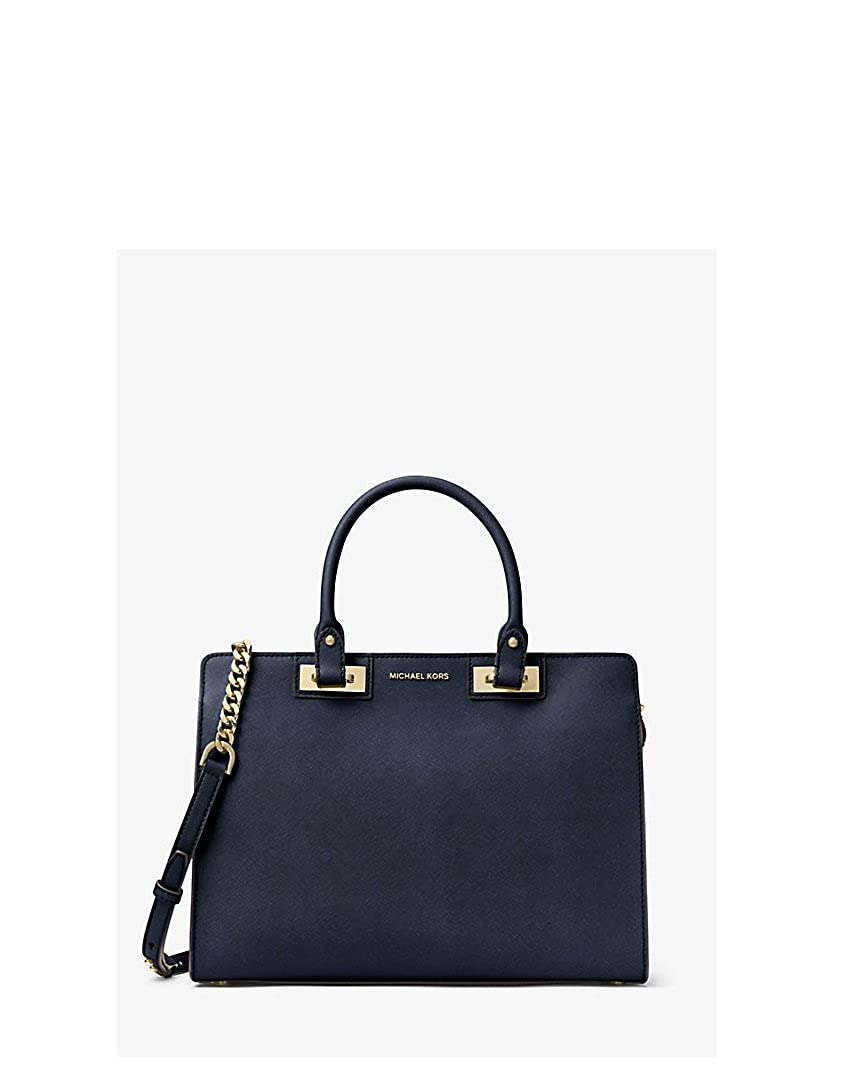 bdbd0dcb4fe955 Amazon.com: Michael Kors Quinn Large Saffiano Leather Satchel (Navy Blue):  Shoes